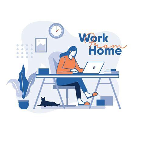 girl working  home   vectors clipart