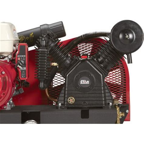 northstar portable gas powered air compressor honda gx390 ohv engine 30 gallon horizontal