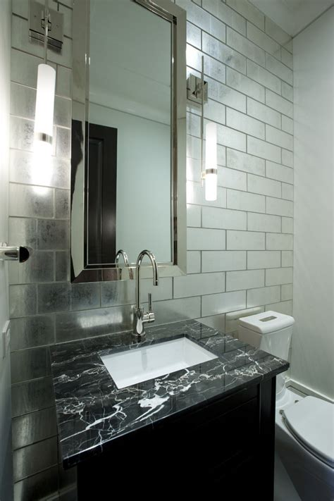 mirrored bathroom tiles mirrored subway tile powder room contemporary with