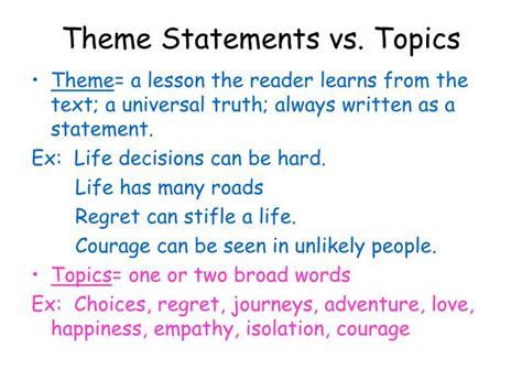 theme thesis exles ppt theme statements vs topics powerpoint presentation