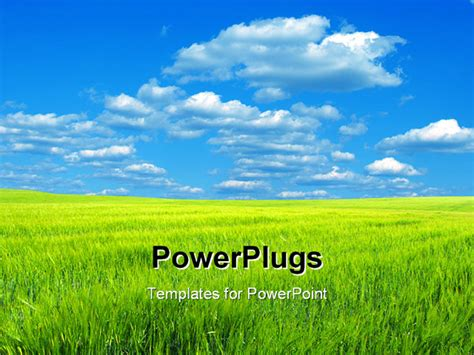 powerpoint themes grass powerpoint template a lot of grass and clouds in the