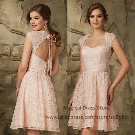 24325 Brown Back Lace Summer Dress aliexpress buy vintage pink lace bridesmaid