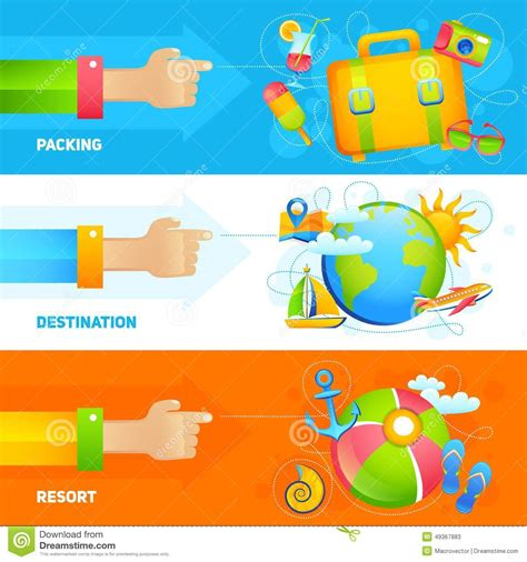 Elements Of My Vacation by Summer Vacation Banner Set Stock Vector Image 49367883
