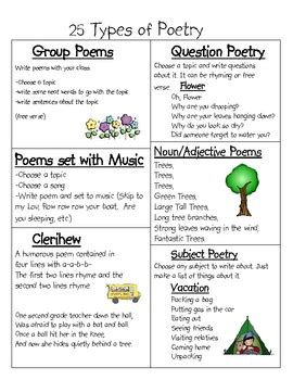 Types Of Poetry Worksheet by 25 Types Of Poetry By Nicholson Razmilovic Tpt