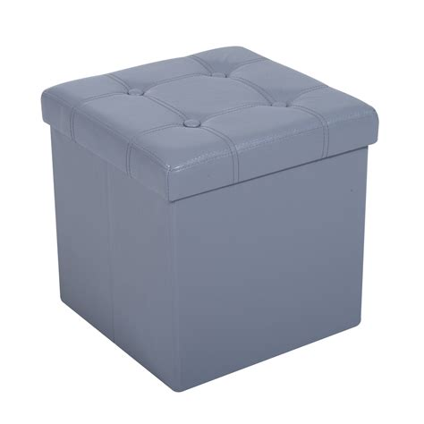 folding storage ottoman rectangle homcom 15 quot folding tufted square storage ottoman