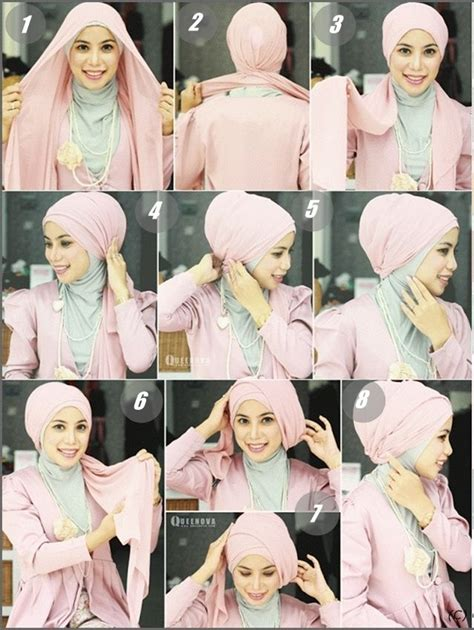 tutorial jilbab pesta 2015 kreasi jilbab turban segi empat untuk pesta anggun