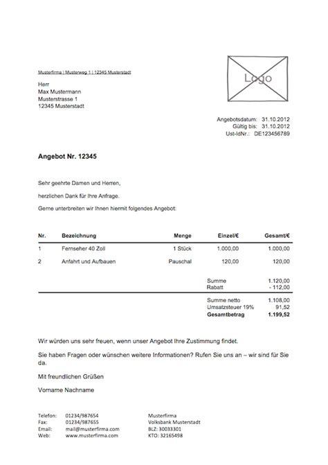 Lexware Muster Rechnung Kostenlose Angebotsvorlage Vorlagen Muster Zu Angebot