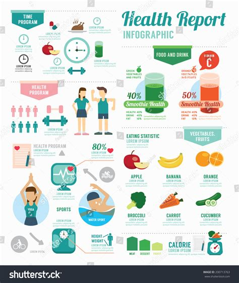 sports infographics templates infographic health sport wellness template design stock