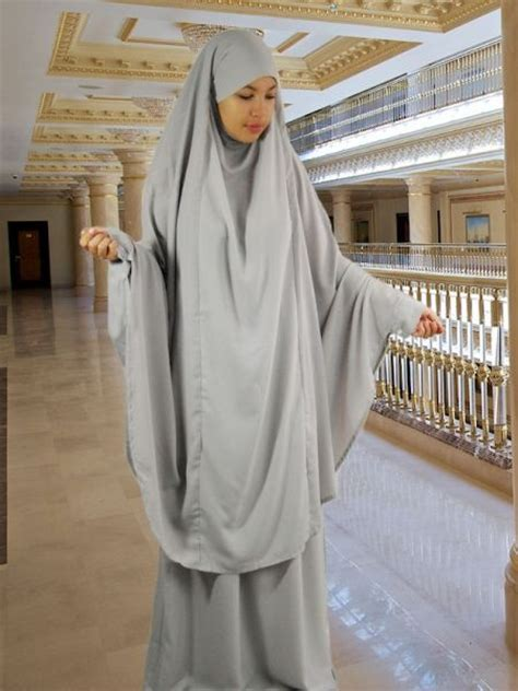 Khimar Chanel set khimar rock light grey overhead abaya