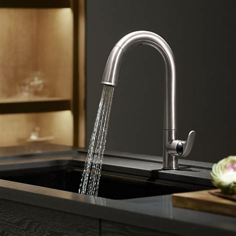 Kohler Sensate Kitchen Faucet Kohler K 72218 B7 Vs Sensate Touchless Pull Kitchen Faucet With Black Accents Docknetik