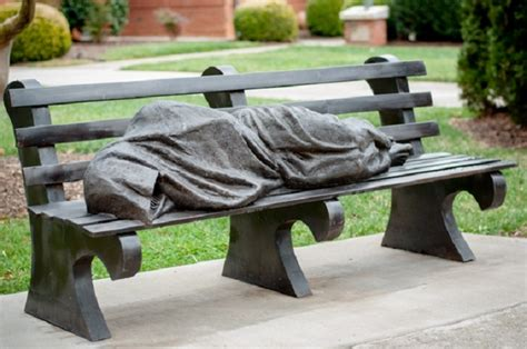 homeless jesus on park bench homeless jesus sculpture sparks poverty conversation
