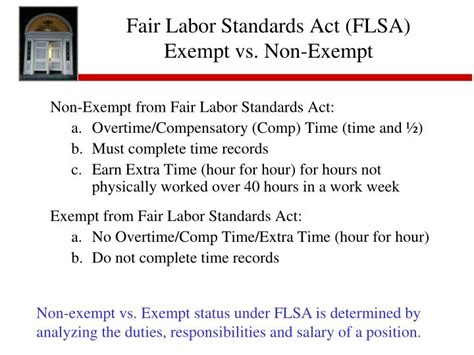 Fair Labor Standards Act Section 7 by Exempt Or Not Exempt The Fair Labor Standards Act Flsa