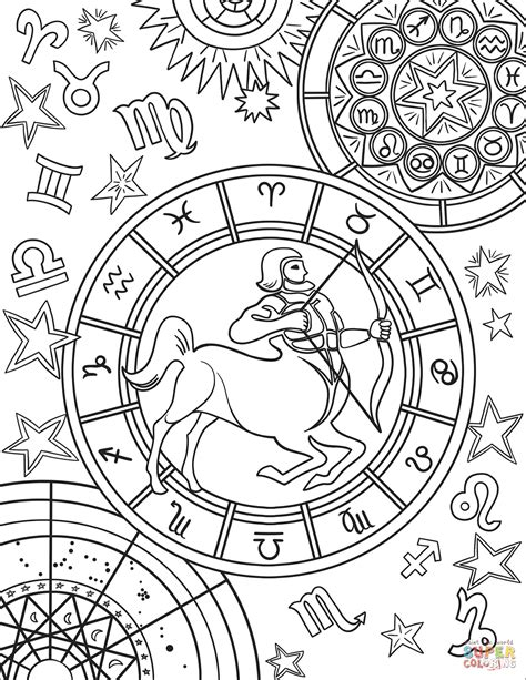 printable zodiac coloring pages sagittarius zodiac sign coloring page free printable