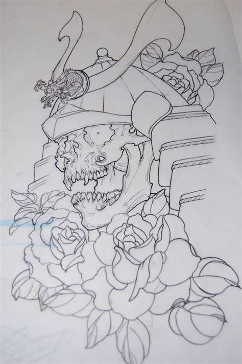 outline rose flowers  samurai tattoo design