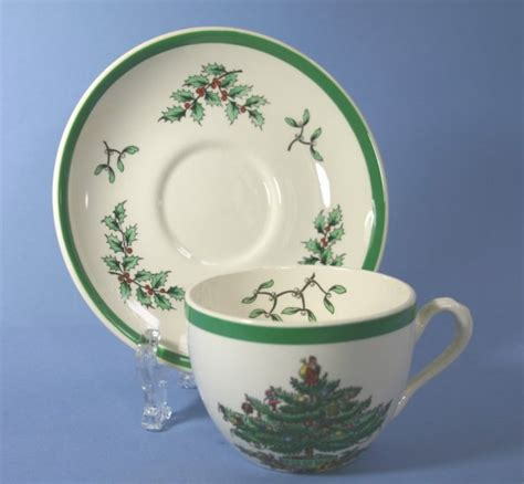 spode christmas tree green trim pattern spode christmas tree green trim flat cup saucer set
