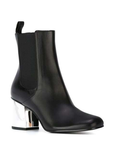 metal boots lyst gucci ankle boots with metal heel in black
