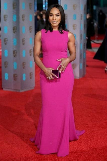 Angela Dres angela bassett baftas awards carpet dresses plum