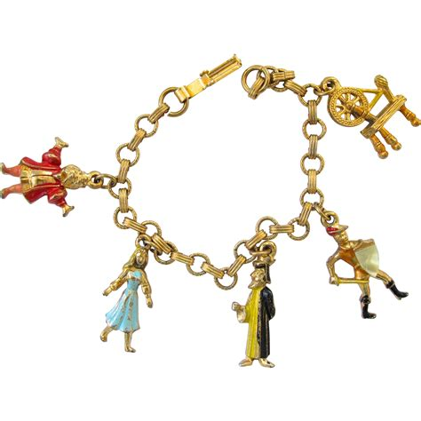 vintage disney character sleeping charm bracelet