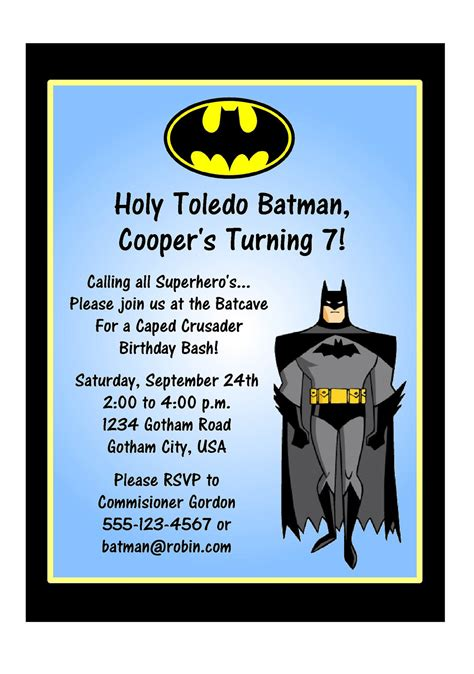 Batman Birthday Card Template by Invitations Heroes Batman Invitations