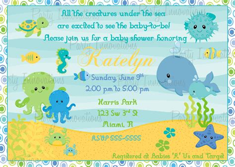 Sea Baby Shower by Design The Sea Baby Shower Invitations The