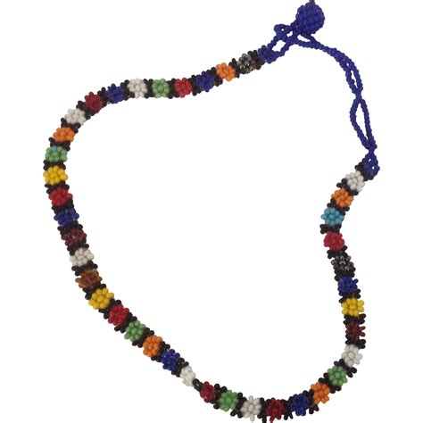 multi coloured bead necklace vintage multi colored seed bead choker or child s necklace