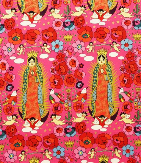 Shopping Websites For Home Decor by Our Lady Of Guadalupe La Virgencita Mexico Folk Art Latin American Santos A Henry Cotton Fabric