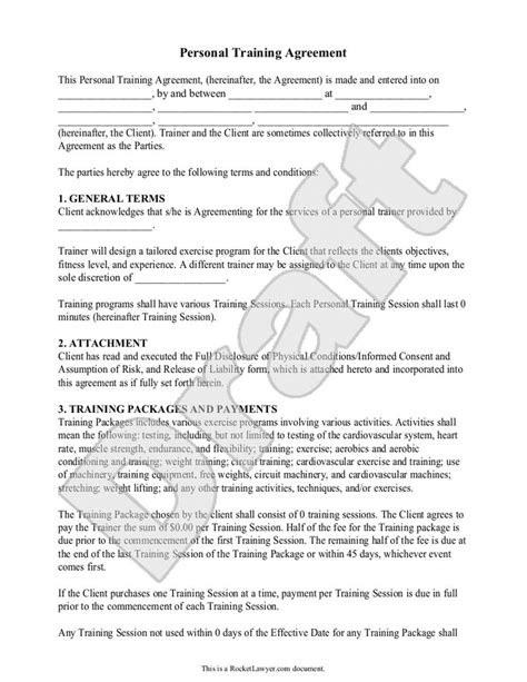personal trainer contract templates 1000 ideas about personal trainer on