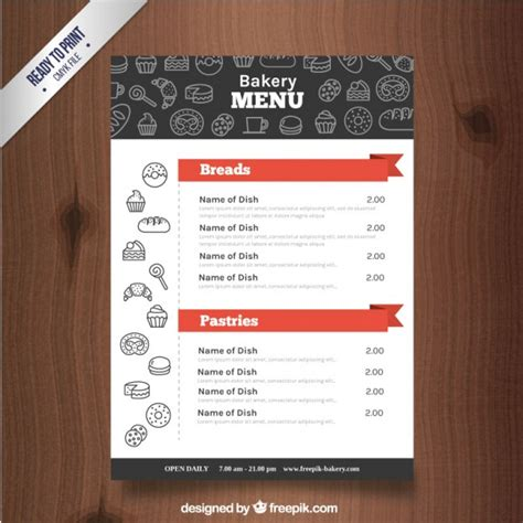 free bakery menu templates sketches bakery products menu template vector free