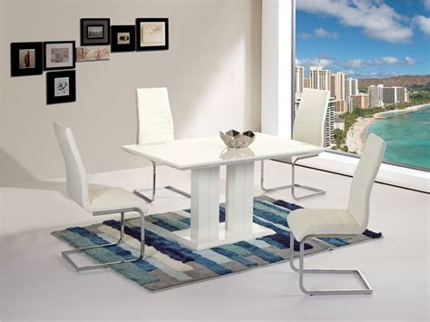 White High Gloss Dining Table And 4 Chairs Modern White High Gloss Dining Table 4 Chairs Homegenies