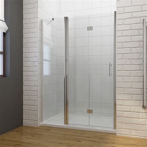 Bifold Shower Door Frameless Frameless Bi Fold Shower Door Hinge Shower Enclosure 700 1400mm Inline Panel Ebay