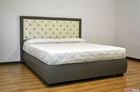 headboard double bed upholstered bed in real leather with buttoned headboard