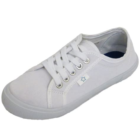 womens white canvas lace up flat trainer plimsoll pumps