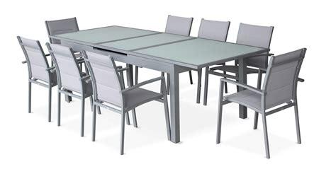 canapé de jardin aluminium salon de jardin 8 fauteuils table 224 rallonge auto