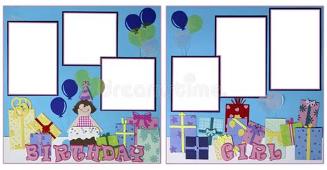 double page scrapbook layout birthday stock photos birthday girl scrapbook page layout stock illustration