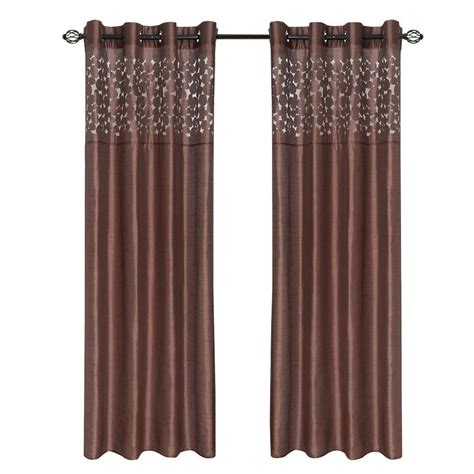 curtain t lavish home chocolate karla laser cut grommet curtain
