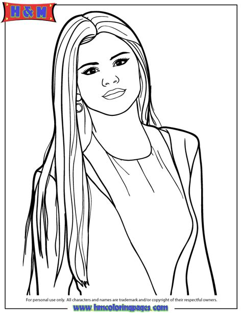 Selena Gomez Coloring Pages selena gomez with hair coloring page h m coloring pages