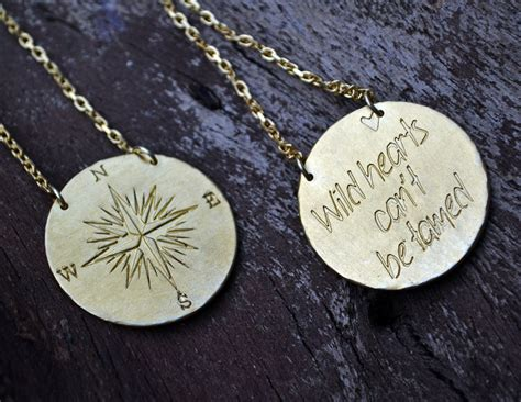 Handmade Compass - hearts can t be tamed handmade compass necklace
