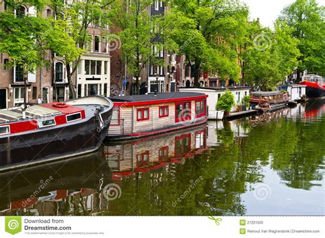 amsterdam house boats houseboats on amsterdam canal editorial image image of
