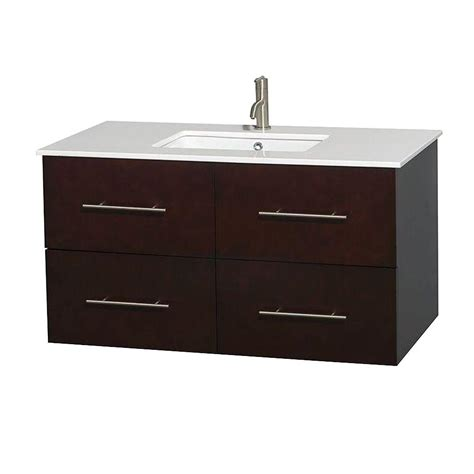 Solid Surface Bathroom Vanity by Wyndham Collection Centra 42 In Vanity In Espresso With