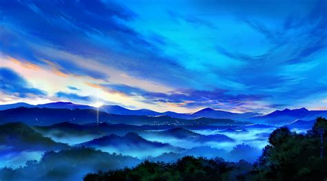 wallpaper blue landscape blue landscape mugon nobody original scenic signed sky
