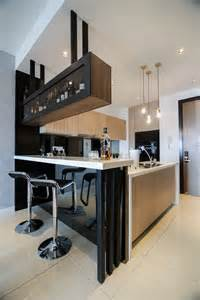 Kitchen Bar Counter Designs Modern Kitchen Design With Integrated Bar Counter For A Small Condo Home Sleek Elements