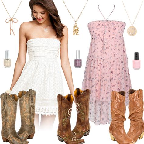 short white dresses on pinterest cowboy boot outfits cute girly cowboy boots with dresses style collages