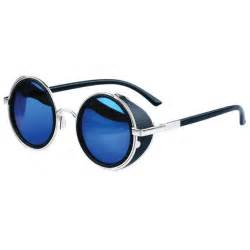 steunk sunglasses silver blue semi mirrored lenses
