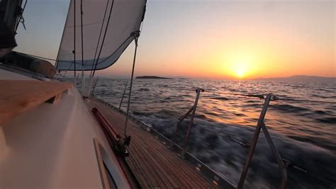 Late Sunset Sail Boat Sunset Sailing In The Wind Through The Waves During Sunset Hd