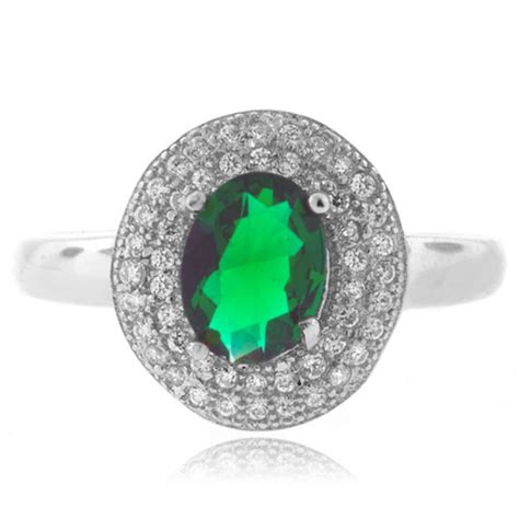 micro pave emerald sterling silver ring silverbestbuy