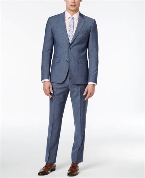 light blue mens slim fit s slim fit light blue chambray suit in blue for