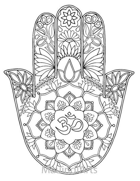coloring pages adults tumblr hand drawn adult coloring page print hamsa om by