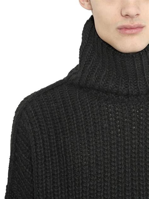 mens knit turtleneck sweater lyst blood wool blend rib knit turtleneck