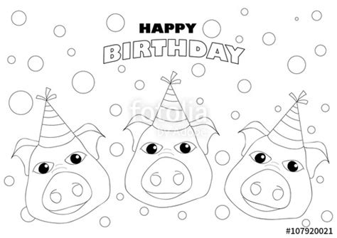 happy birthday pig coloring pages quot coloring page happy birthday sign invitation card pigs