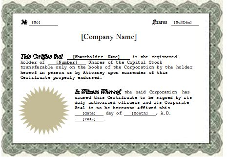 corporate stock certificate template free corporation stock certificate blank certificates